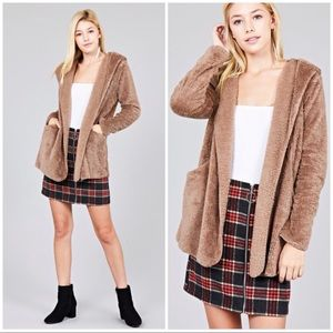 Jackets & Blazers - Taupe OPEN FRONT w/HOODIE FAUX FUR FLUFFY JACKET